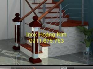 Cầu thang inox tay vịn gỗ mẫu 20