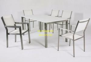 Bàn ghế inox mẫu 4