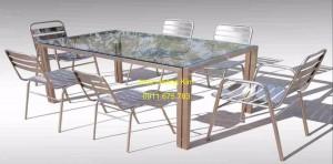 Bàn ghế inox mẫu 7